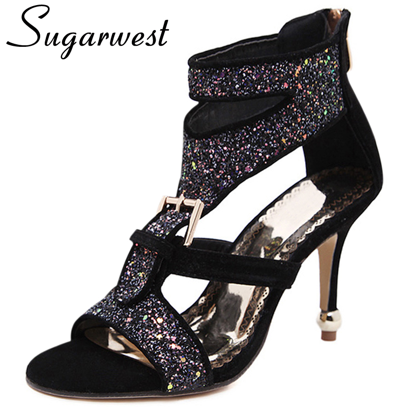 Wedding High Heels Sandals: Sugarwest Buckle Sequin Cut Outs Sandal Sexy Wedding Shoes