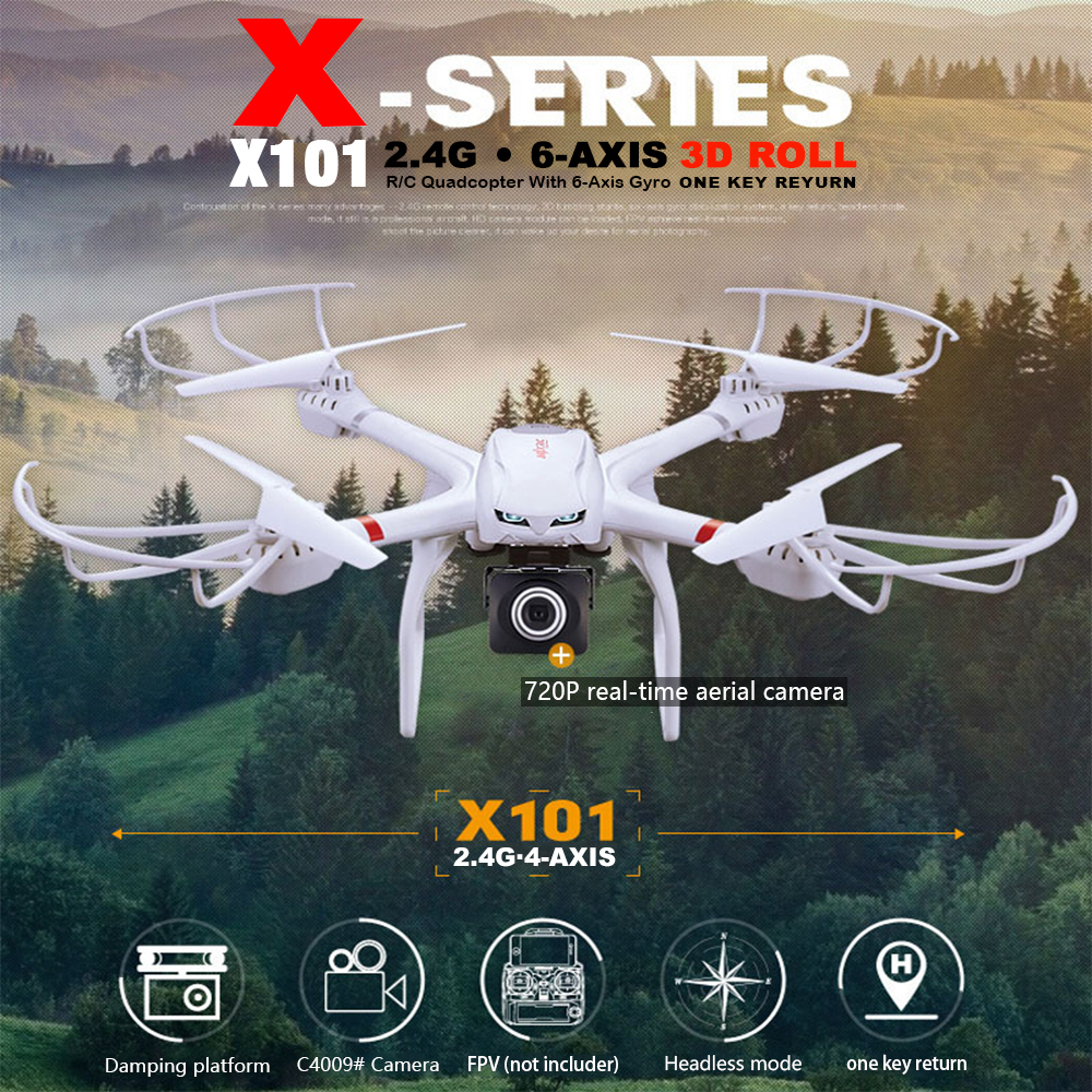 MJX X101 2.4G 6-axi Drone Headless Mode FPV Quadcopter can add C4008 Drone with Camera RC Helicopters Extra Gift Frame