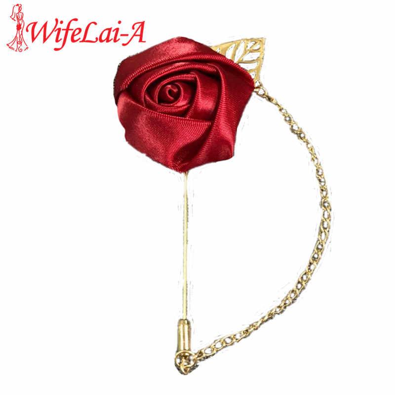 WifeLai-2 шт. крутая золотая цепочка бутоньерка с розочками цветок невесты алмаз свадебный корсаж серебро Кристалл жениха брошки с цветами XH1379Y