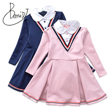 BEMIDJ Preppy Style 3-12Y Girls Dress Princess Dresses For Girl Spring Autumn Long Sleeve Children School Clothing Kids Costume