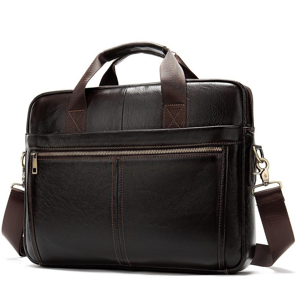 Business-Briefcases Handbag Messenger-Bag Leather Laptop Lawyer Genuine-Leather Men's