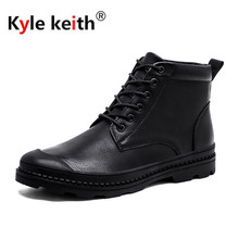 Kyle Keith Men Genuine Leather Boots 2018 New Winter Driving Riding Botas Shoes High-Top Lace-up Snow Ankle Boots
