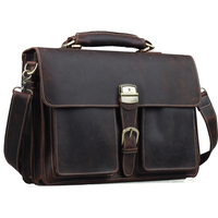 TIDING Mens Brown Genuine Leather 16 Laptop Bags Briefcase Tote Business Office Case 1031