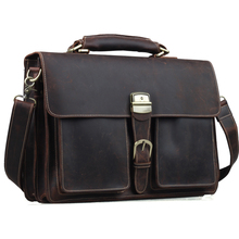 TIDING Mens Brown Genuine Leather 16″ Laptop Bags Briefcase Tote Business Office Case 1031