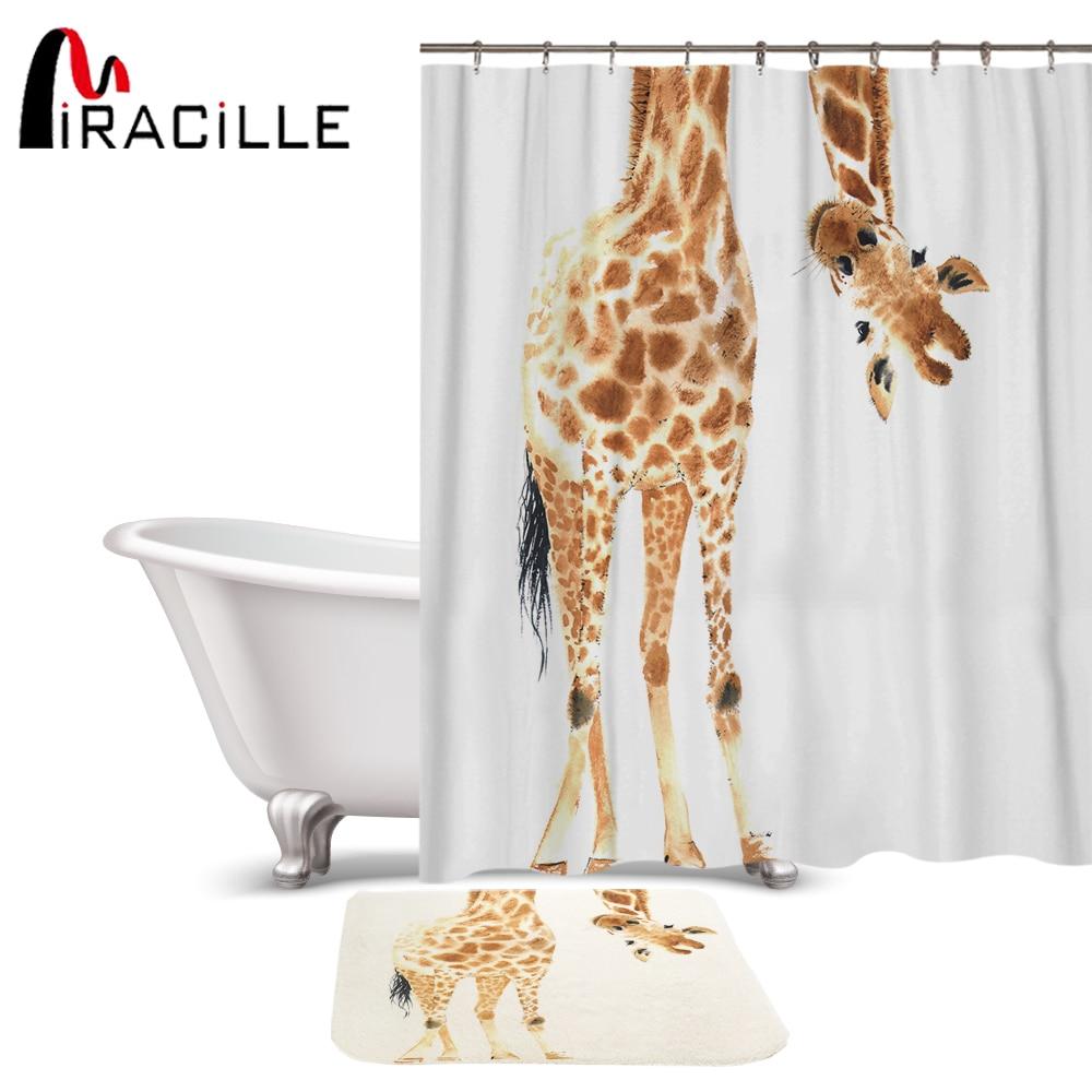 Miracille Funny Cartoon Giraffe Pattern Polyester Waterproof Shower Curtains With Rectangle Non-slip Floor Mat Bath Curtain Set