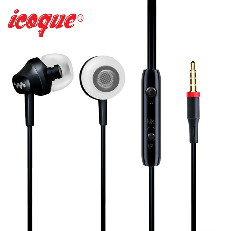 Icoque Wired Earphone 3.5mm In Ear Headphones with Mic Hifi Music Bass Earbuds for iPhone 6 Xiaomi Computer PC Stereo Earphones