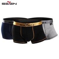 Seven7 Marka Yeni erkek Cueca Boxer Sandıklar Rahat 3 Adet Lot İç Erkekler Boxer Şort Seksi Sıcak Eşcinsel erkek Külot 110F08050