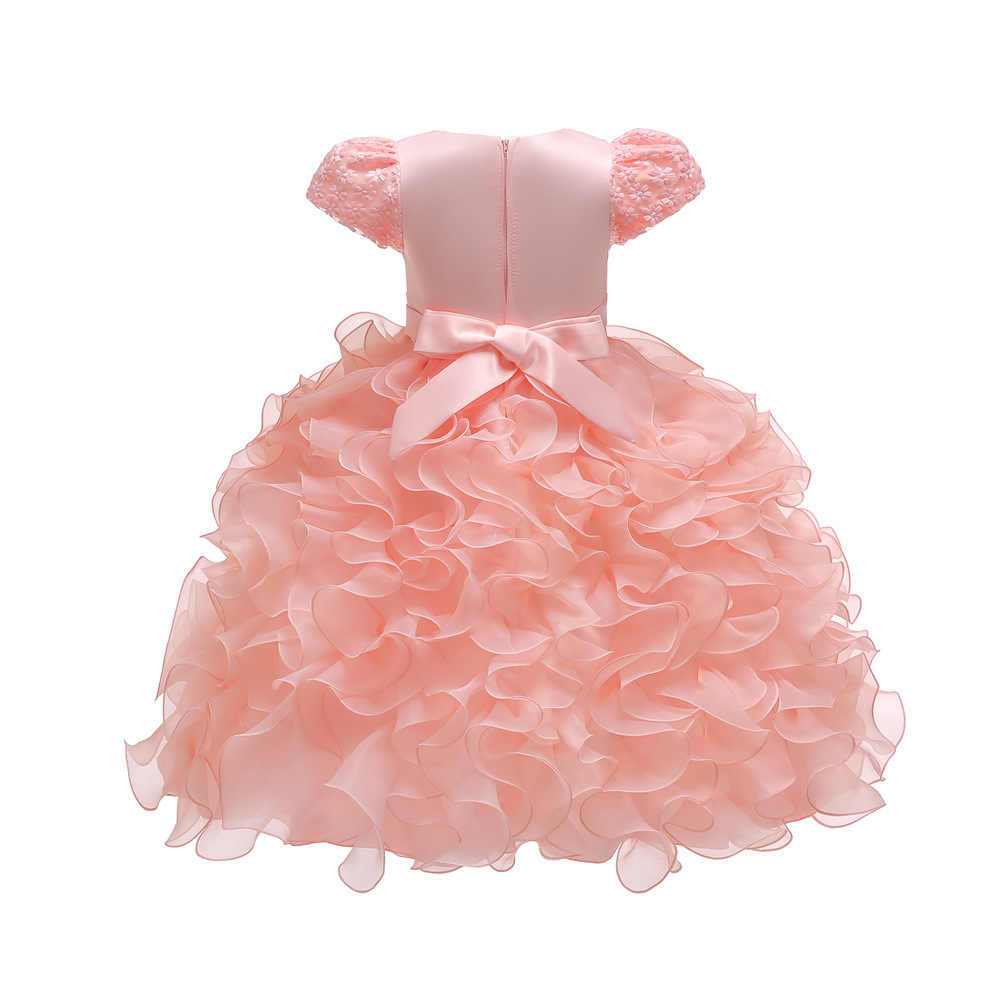 31112e82bb Elegant Baby Clothes Girl Flower cake tutu Dresses for Girls 1st year  birthday party Short Sleeve clothing 3-24M Princess dress