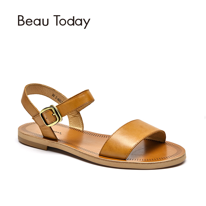 Flat Sandals Women BeauToday Brand Genuine Cow Leather Slingback Buckle Strap Quality Summer Shoes Handmade 32040