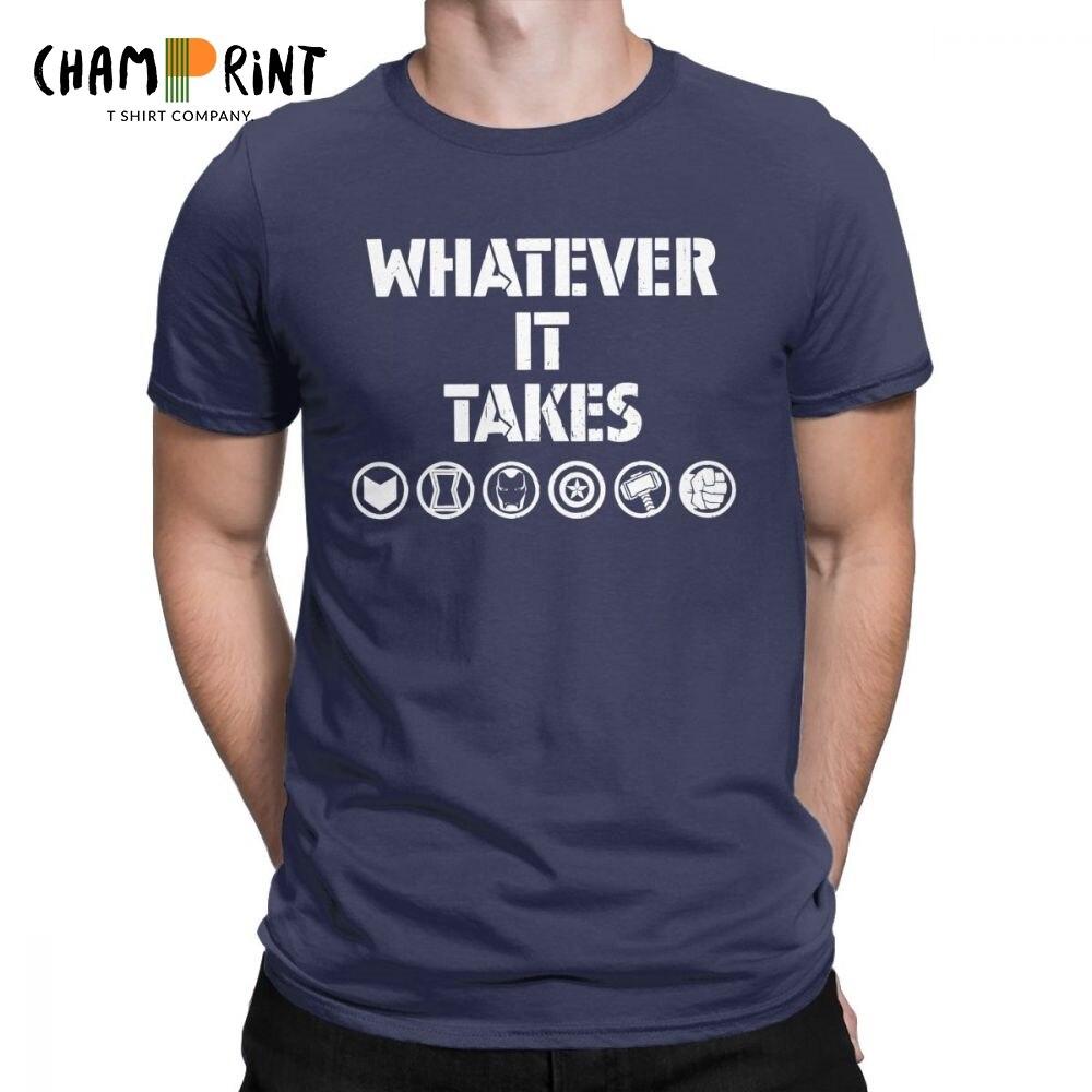Avengers Endgame Whatever It Takes   T     Shirts   Men 100% Cotton Novelty   T  -  Shirt   Crewneck Tee   Shirt   Short Sleeve Clothes Gift