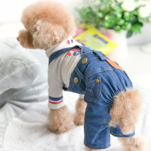 2018 Pet Vestiti Del Cane per Cani Primavera Estate Morbido resistente all'usura Denim Tuta Tutti I Match Jean Dog Costume per cani di piccola Taglia S-XXL(China)