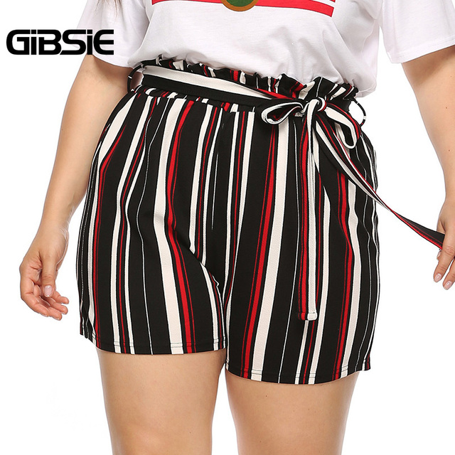 GIBSIE Plus Size New Fashion Bow Striped Shorts Women's Summer High Waist Shorts 2019 Female Casual Straight Shorts with Belt 4
