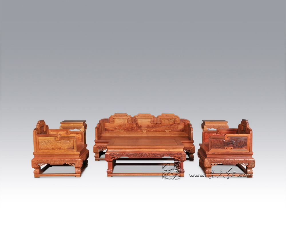 Sofa Bed Suit 1+3 Seats 6 Pcs Set Chinese Royal Rosewood Furniture Living Room Luxurious Carving Solid Wood Throne Chair Chaise home living room furniture new china classic carved rosewood arhat bed solid wood long chair beauty couch double sofa single bed