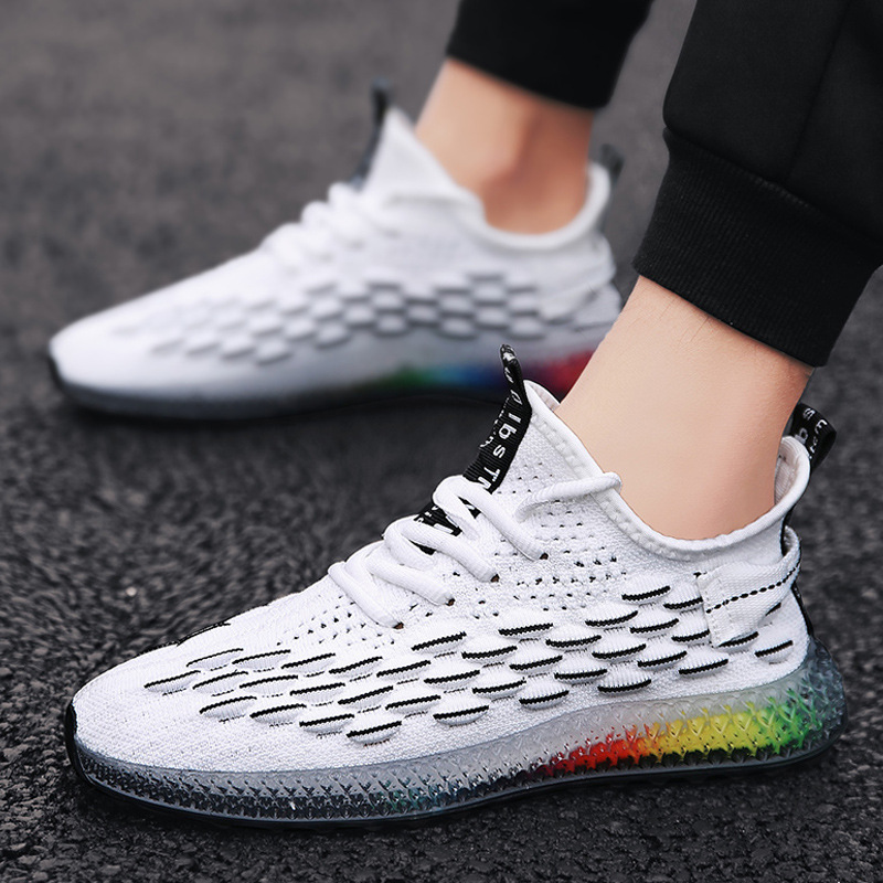 Image 5 - Casual Fashion 4D print Men's dad Sneakers Flying Weaving Mesh Breathable Men Shoes Outdoor tenis Footwear Zapatillas Hombre-in Men's Casual Shoes from Shoes