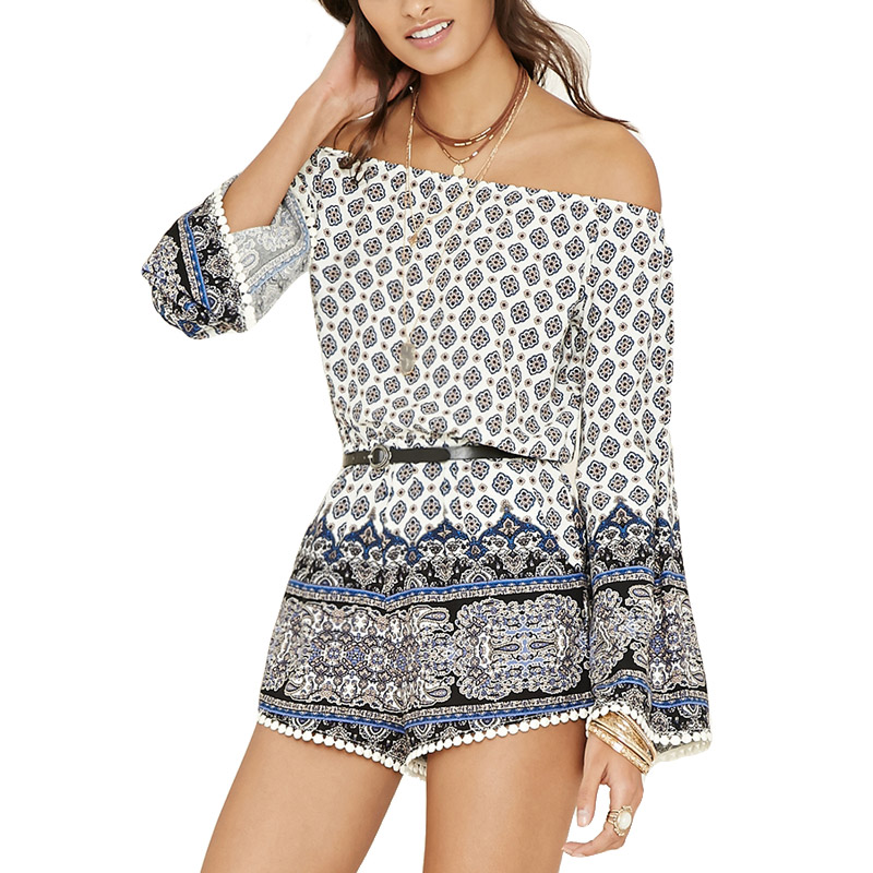 Top Mall Cloths 2017 Summer Sexy Bohemian Style Women Rompers Jumpsuit Casual Slash Neck Floral Print Short Beach Overalls Tassel Hem Playsuits