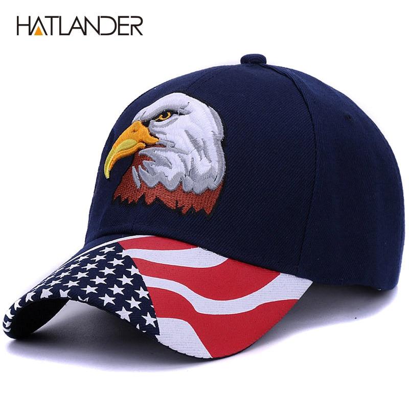 [HATLANDER]2018 Spring Summer Mens Baseball Caps Embroidery Eagle Hunting Desert Hat Women Hip Hop Adjustable Golf Sports Hats