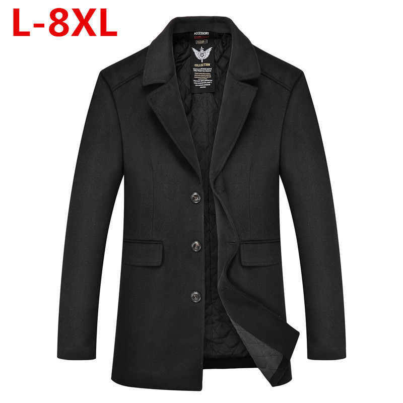 Plus size 8XL 7XL 6XL 5XL 4XL brand Men's casual Long Wool & Blend jacket Male single Breasted woolen coats outwear Windbreaker men plus size 4xl 5xl 6xl 7xl 8xl 9xl winter pant sport fleece lined softshell warm outdoor climbing snow soft shell pant