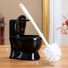 Ceramic 2 pieces toilet brush holder set 3 colors ceramic mini toilet brush holder + plastic toilet brush bathroom accessories