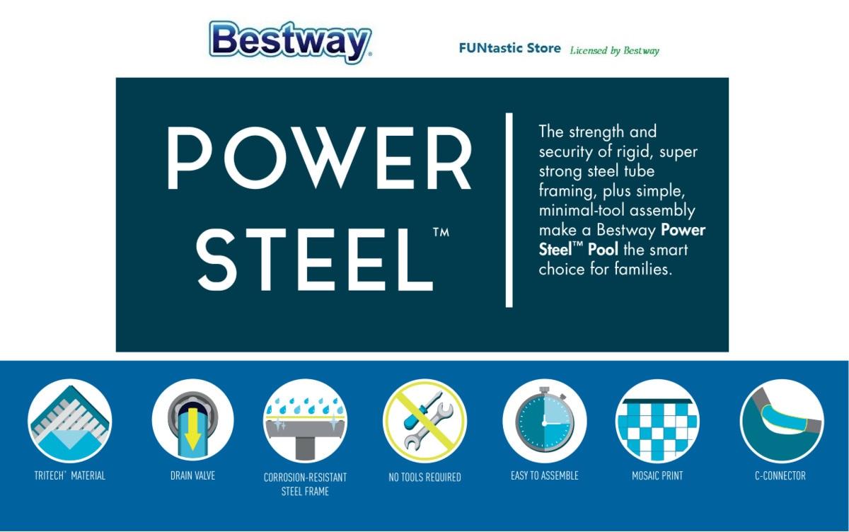56442 Bestway 404*201*100 cm Rechteckigen Super Starke Stahlrohr ...