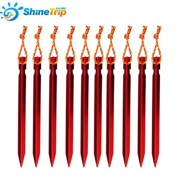 ShineTrip 10 Pcs 18CM Aluminument Tent Pegs with Rope Stake Camping Hiking Equipment Outdoor Traveling Tent Accessories