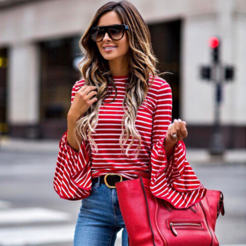 Spring Autumn New Fashion Women Clothes Red White Stripe T-shirt Trumpet Long Sleeve T-shirt Women Ladies Tops