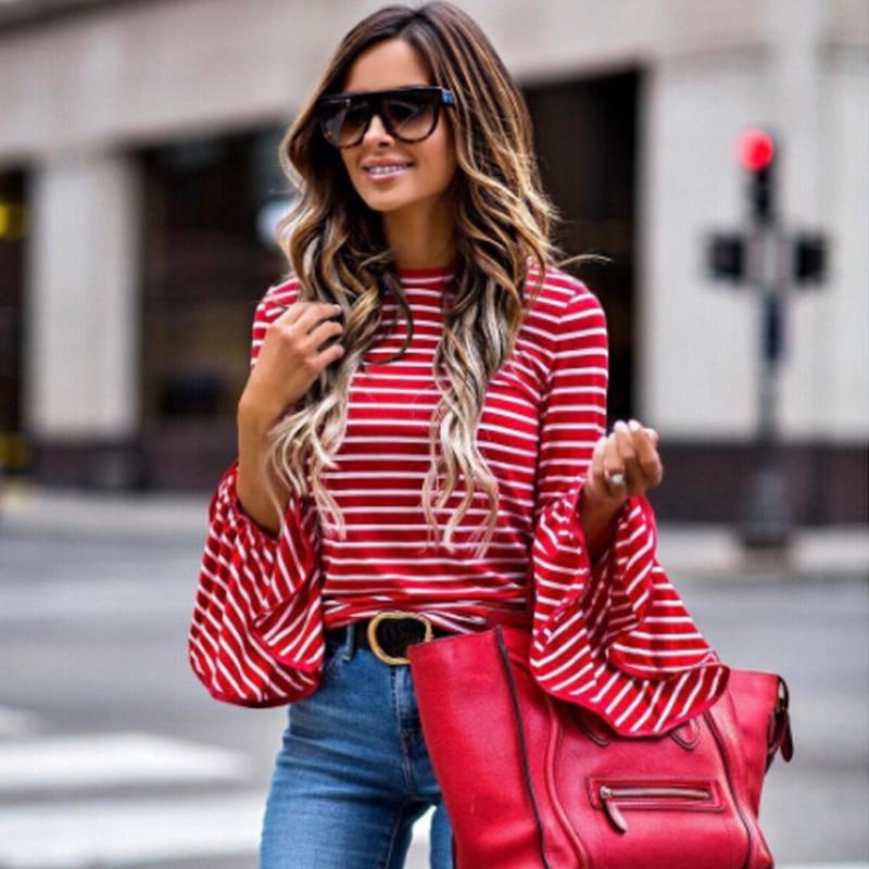 Spring Autumn New Fashion Women Clothes Red White Stripe T-shirt Trumpet Long Sleeve T-shirt Women Ladies Tops