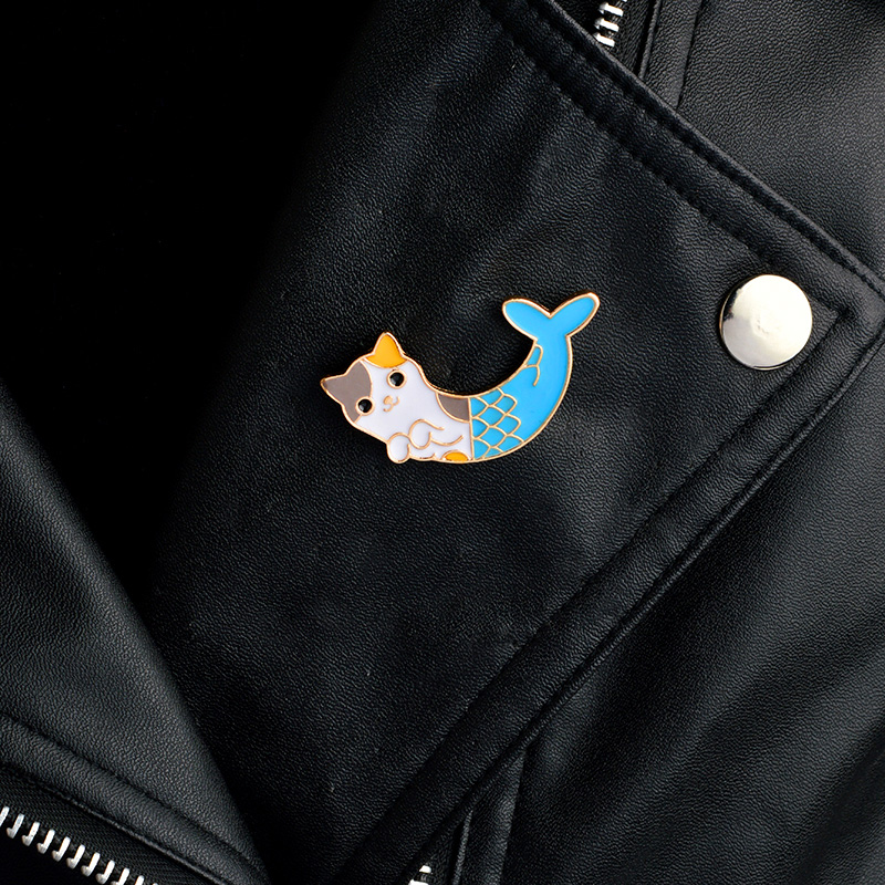 1 Pcs Cute Cartoon Fish Cat Metal Badge Brooch Button Pins Denim Jacket Pin Jewelry Decoration Badge For Clothes Lapel Pins Home & Garden