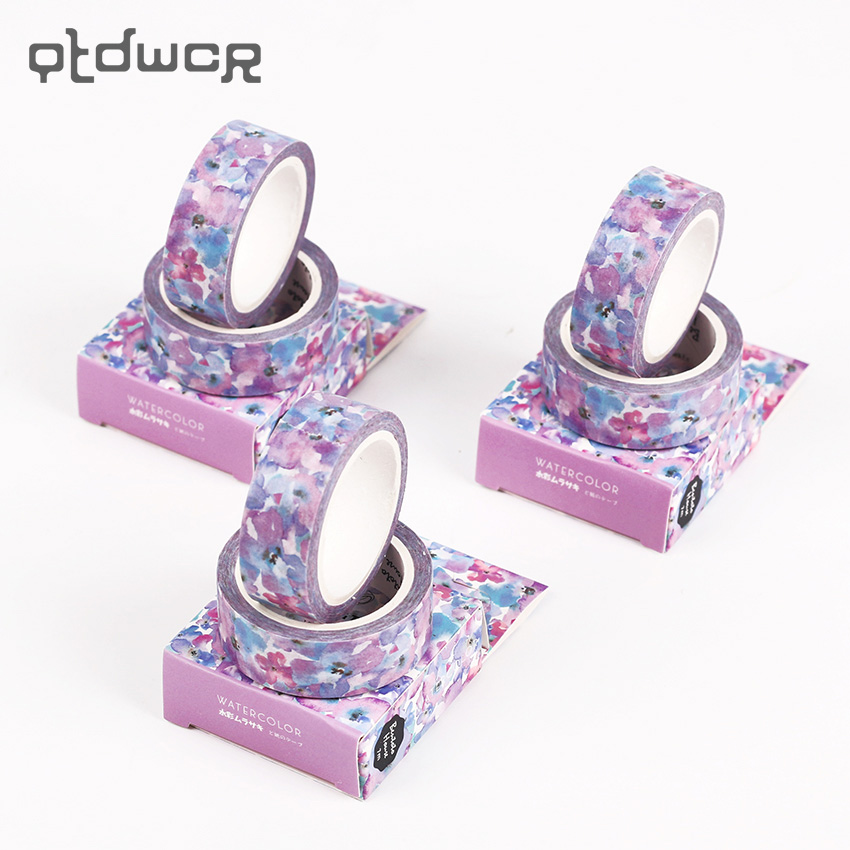 1PC The Blooming Purple Flowers Swatch Paper Washi Tape Adhesive Tape DIY Decorative Diary Scrapbook Sticker Label Masking Tape