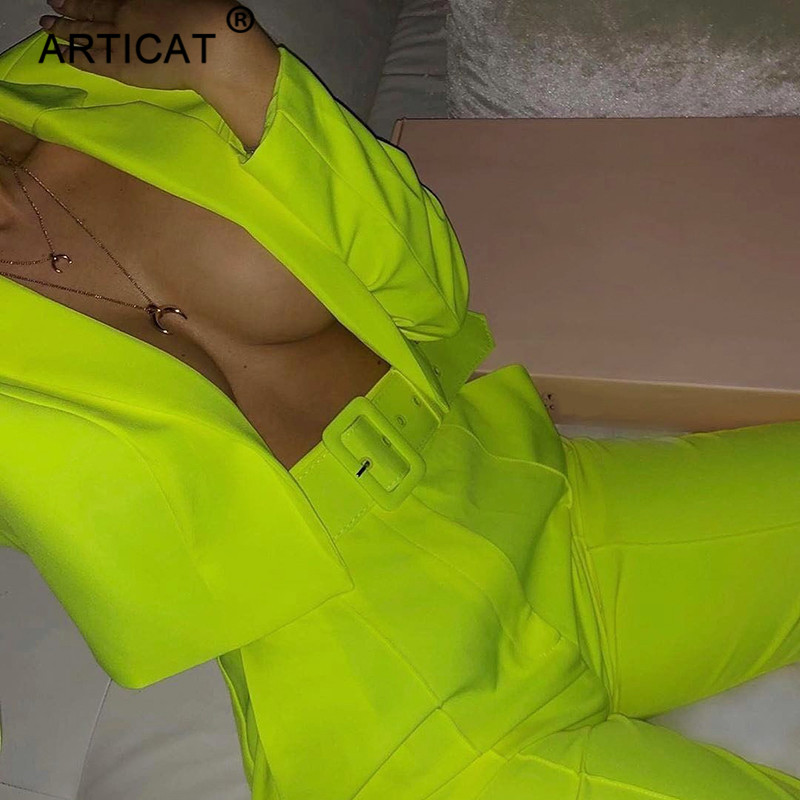 Articat Two Piece Set Women Suits Long Sleeve Blazer And Pants Suit For Women Slim Autumn Elegant OL Jacket Suits Female Outfits