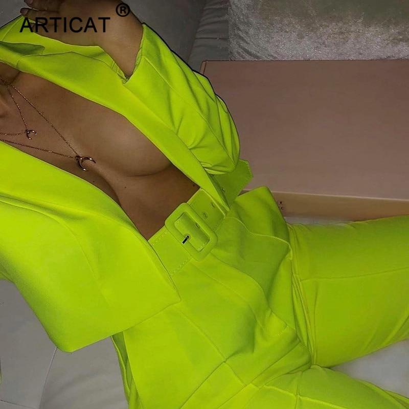 Articat Two Piece Set Women Suits Long Sleeve Blazer And Pants Suit For Women Slim Autumn Elegant OL Jacket Suits Female Outfits