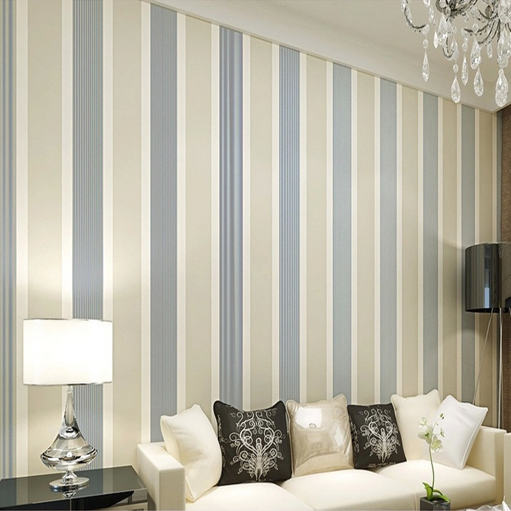 Q QIHANG High Texture Modern Minimalist Multicolor striped Non-woven Wallpaper Beige gray Color 0.53m*10m=5.3m2