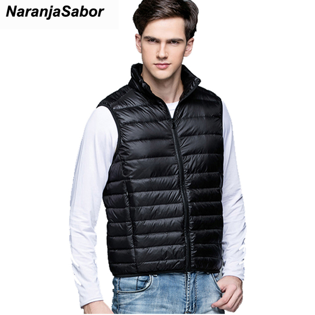2ccc3e0ecb5 NaranjaSabor 2018 Men s Waistcoats Winter Sleeveless Jackets Male  Lightweight Coats Cotton Padded Vests Men Brand Clothing N418
