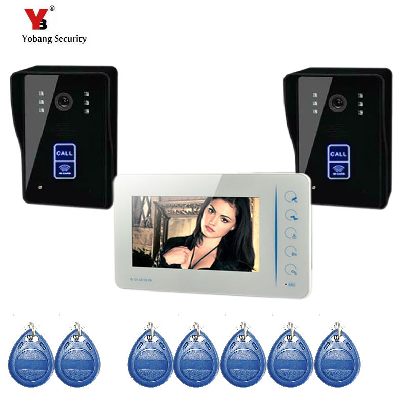 Yobang Security freeship Touch keypad  Wired 7 inch TFT Video Door Phone Video Intercom Kit+White Monitors +2 Door bell Camera yobang security 700tvl 7inch color vdeo doorphone ip55 level waterproof door intercom touch keypad doobell rain cover door phone