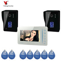 Yobang Security freeship Touch keypad  Wired 7 inch TFT Video Door Phone Video Intercom Kit+White Monitors +2 Door bell Camera