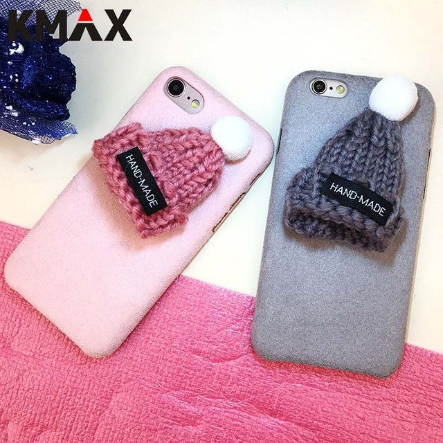 quality design 29454 a824c US $0.79 |KMAX Phone Case For iPhone 6 6S Plus 7 8 plus DIY Winter Fuzzy  HandMade Cute Christmas knitted Hat Soft Silicon Back Covers Capa-in ...