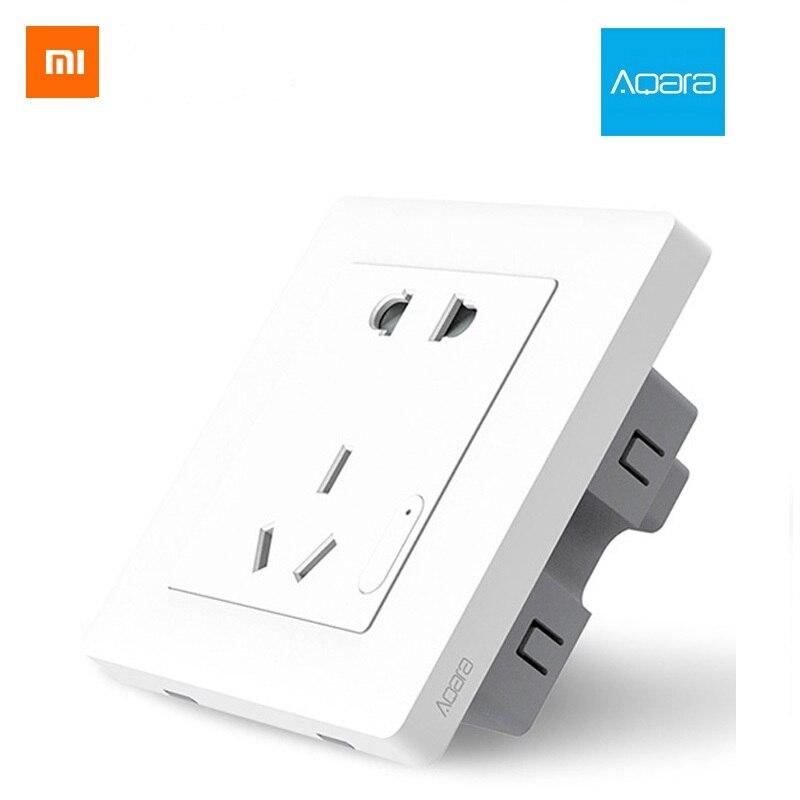 Xiaomi Aqara inteligente pared zócalo ZigBee inalámbrico pared salida Mijia enchufe de pared interruptor de trabajo para Xiaomi casa inteligente Bluetooth APP