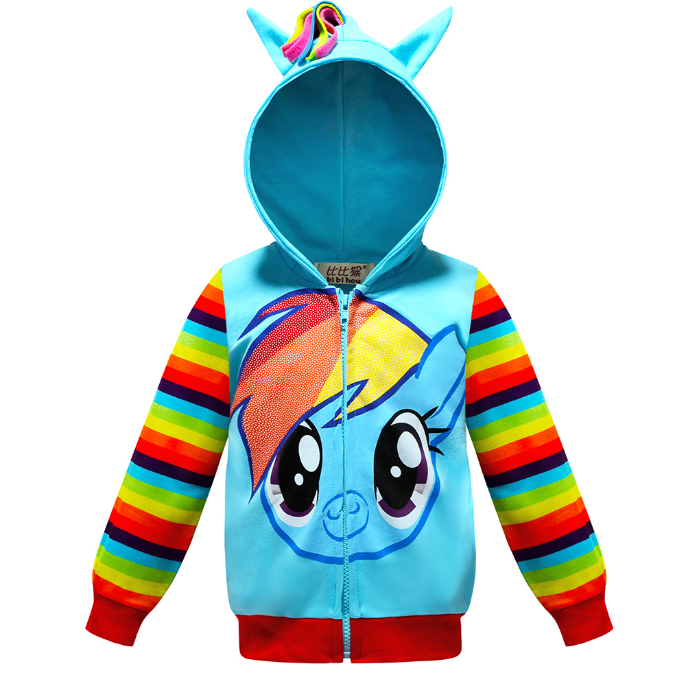 Children's Hooded Casual Jacket Cartoon Little Pony Long-sleeved Stripes Zipper sports Coat For Baby Girls Boy Teen Kids Clothes slim fit ruffle long sleeved hooded quilted coat for women