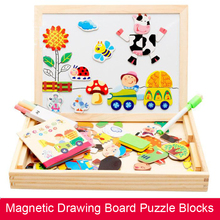 DIY Wooden Magnetic Sticker Blocks Early Childhood Educational Toy Happy Farm Animal Enlightenment Gift For Kids DOLLRYGA
