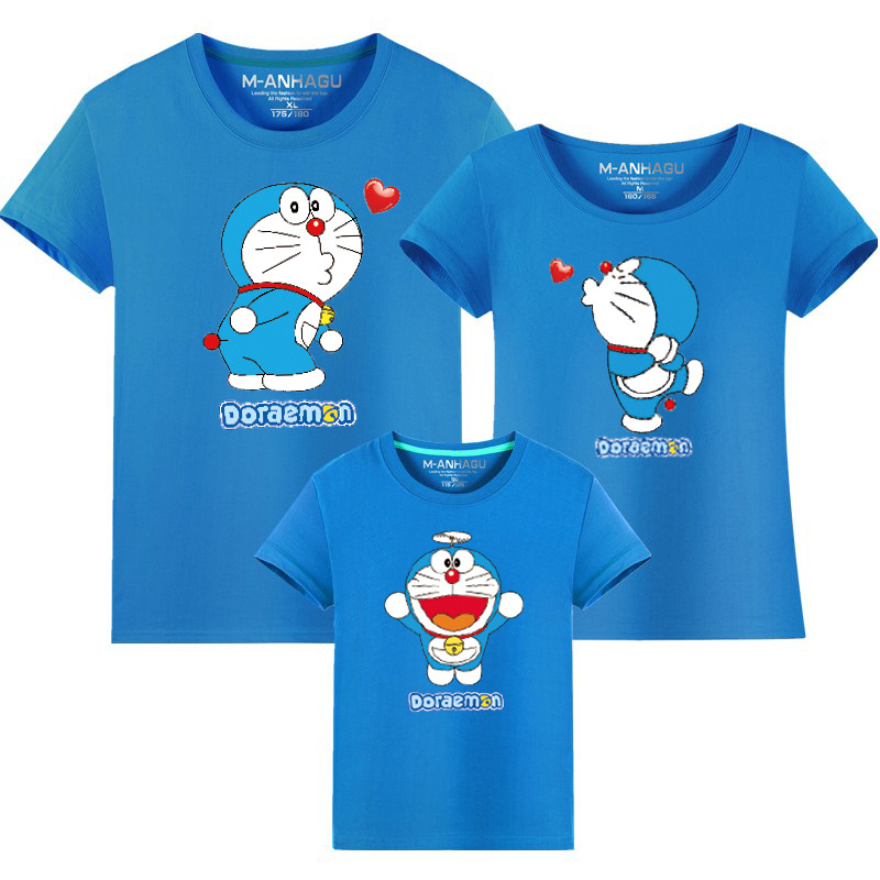 Cute Family Matching Outfits Cartoon Doraemon T Shirts Mother Kids T-shirt Family Clothing Mother Daughter Baby Girl Boy Clothes