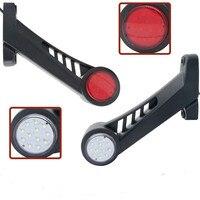 2pcs 12V 24V Truck Trailer LED Elbow Side Marker Lights Rubber Stop Lamp Indicator Light For Trailer Truck Van Lorry Red White