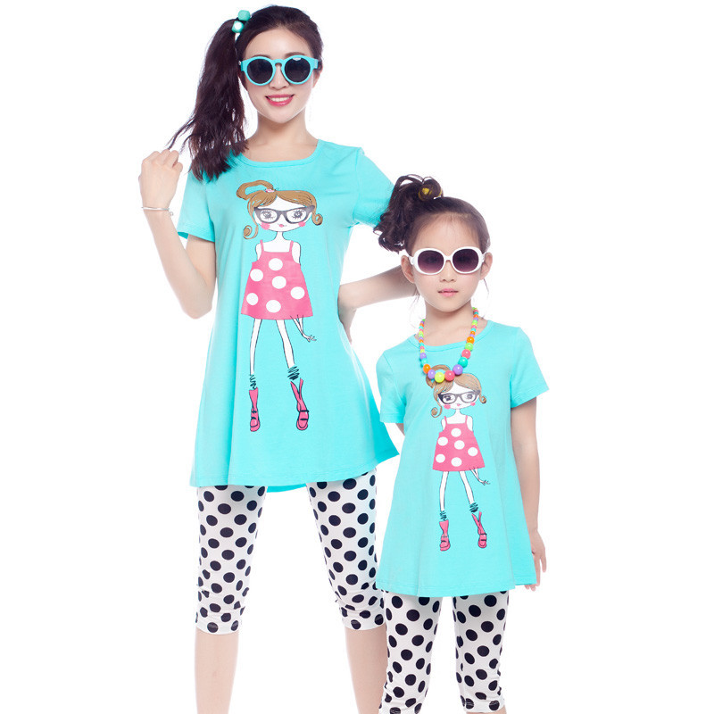 2015 Summer style mother daughter matching clothes...