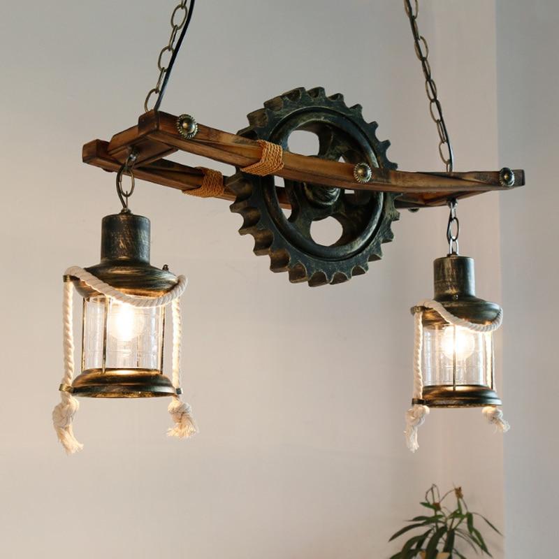 Rustic Pendant Kerosene Lamp Wood