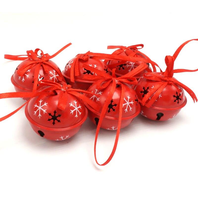 Ziemassvētku rotājumi 6gab. Sarkans dzelzs mazs zvans mājas sniegpārsliņam 50mm bruņu zvanu Ziemassvētku eglīšu apdares piederumi