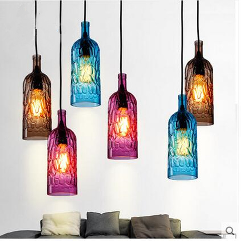 Restoring ancient ways Pendant lamp LED light colorful glass the winebottle chandeliers indoor ceiling coffee shop bar lighting edison vintage pendant light restoring ancient ways rustic iron cage hanging ceiling lamp light