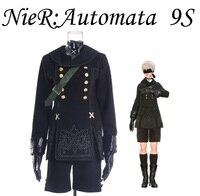 НИР: автоматы 9 s черный unifrom Аниме Косплей Костюм Полный комплект перчатки + маска для глаз + сумка бесплатно трек аниме