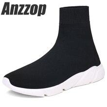 Купить с кэшбэком ANZZOP 2019 NEW Hosiery shoes Women Walking Shoes Slip on Socks Shoes Female Comfortable Shoes Black Mesh Breathable Sneakers