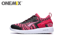 Original ONEMIX Women Running Shoes Leather Breathable Mesh Walking Athletic Sneakers Zapatillas Mujer Deportivas Free Ship
