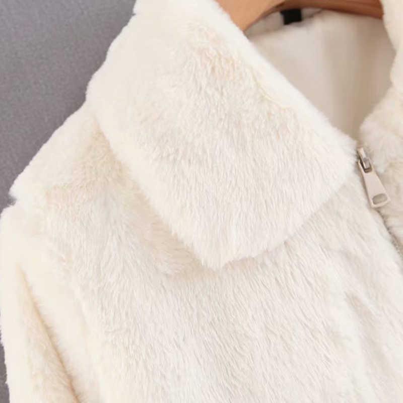 Chaqueta corta de piel de conejo de imitación a la moda para mujer
