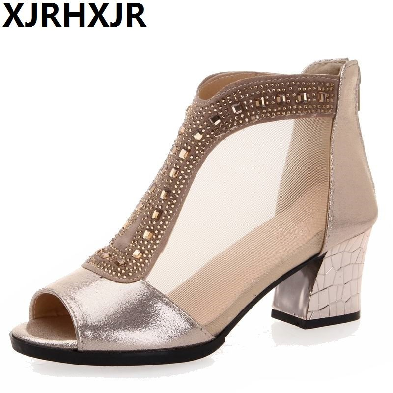 XJRHXJR Sexy Rhinestone Women Sandals Breathable Summer Open Toe Sandals Thick Heel High-heeled Shoes Gold Women's Gauze Shoes summer causal open toe buckle high heeled thick waterproof platform sandals for women
