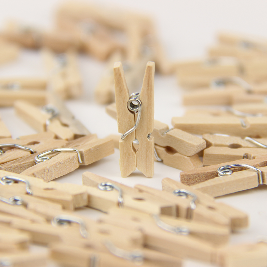 90PCS/Lot Natural Crude Wood Clips Decorative Clip Office Supplies Craft Clips DIY Combination Office Binding Supplies